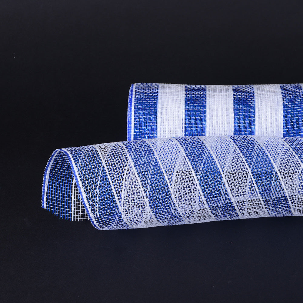 White with Blue - Poly Deco Mesh Wrap with Laser Mono Stripe ( 21 Inch x 10 Yards )