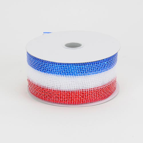 4 inch x 25 yards Flag Metallic Deco Mesh Ribbons