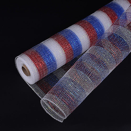 21 Inch x 10 Yards Flag Poly Deco Mesh Wrap with Laser Mono Stripe