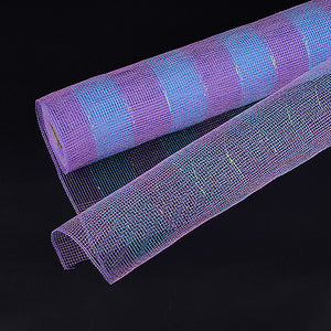 Blue with Lavender - Poly Deco Mesh Wrap with Laser Mono Stripe ( 21 Inch x 10 Yards )