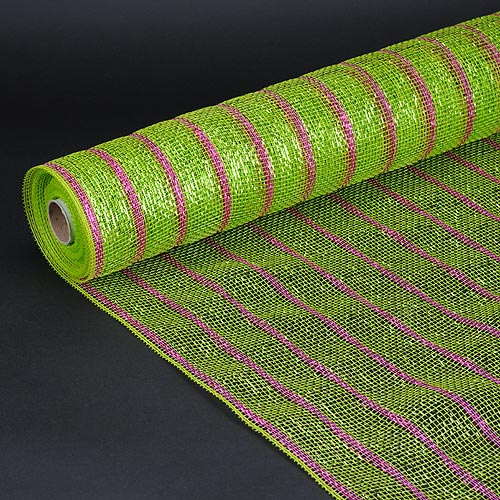 21 Inch x 10 Yards Apple Green with Fuchsia Holiday Floral Mesh Wraps