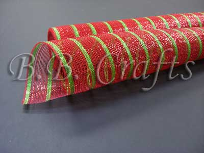 21 Inch x 10 Yards Red with Apple Green Lines Holiday Floral Mesh Wraps