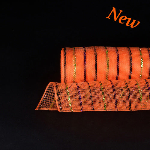Orange with Multi Color  - Holiday Floral Mesh Wraps -  ( 21 Inch x 10 Yards )
