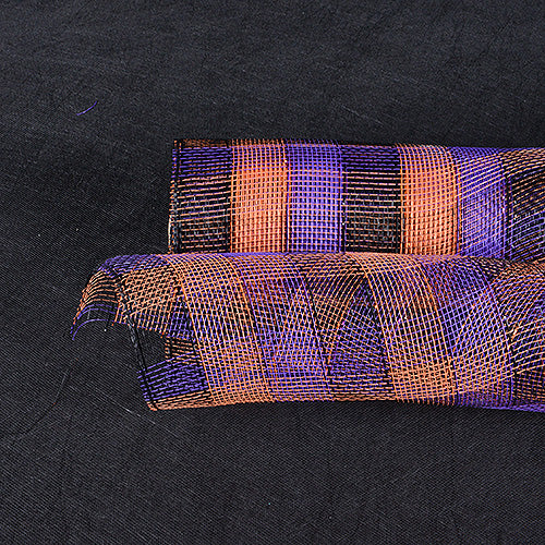 Purple Orange Black - Poly Deco Mesh Wrap with Laser Mono Stripe ( 21 Inch x 10 Yards )
