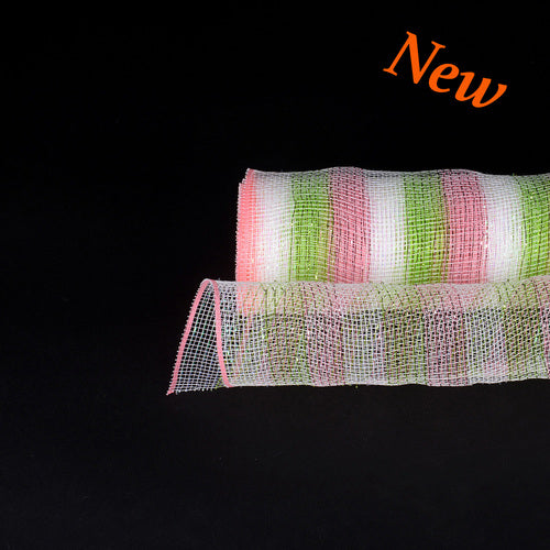 Pink Green  - Poly Deco Mesh Wrap with Laser Mono Stripe -  ( 21 Inch x 10 Yards )