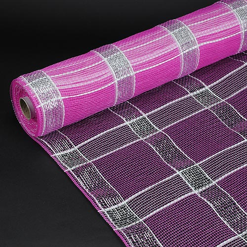21 Inch x 10 Yards Fuchsia With Silver Poly Deco Xmas Check Mesh Metallic Stripe