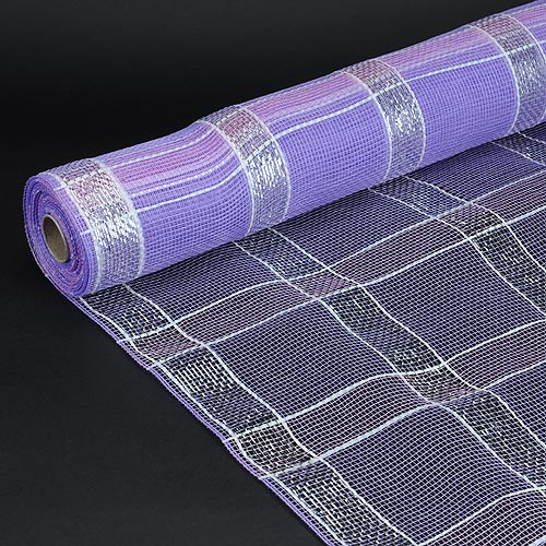 21 Inch x 10 Yards Lavender with Silver Poly Deco Xmas Check Mesh Metallic Stripe