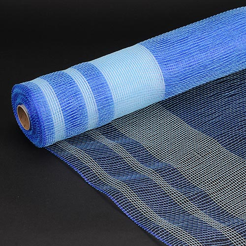 Blue - Deco Mesh Striped Design ( 21 Inch x 10 Yards )