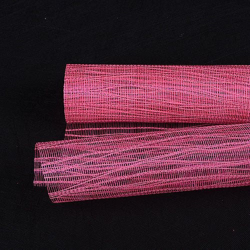 21 Inch x 6 Yards Hot Pink Metallic Twine Mesh Wrap