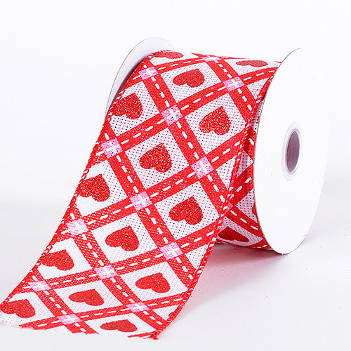 2-1/2 Inch x 10 Yards Red Valentine Ribbon