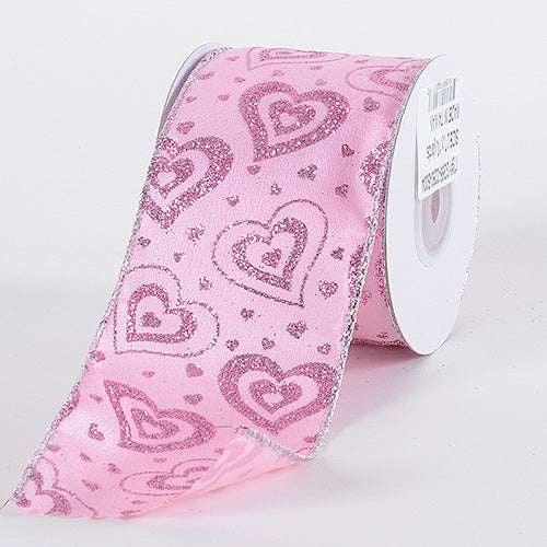 2-1/2 Inch x 10 Yards Pink Valentine Ribbon