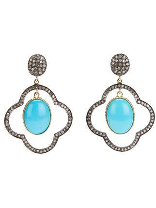 Turquoise and Rose Cut Diamond Earrings