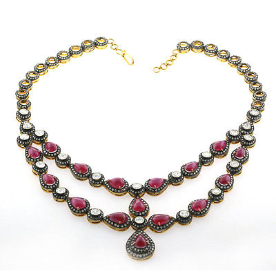 Goddess Necklace - Rose Cut Diamonds, Ruby and Gold