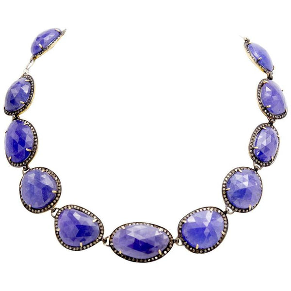 Tanzanite and Rose Cut Diamond Necklace in Oxidized Silver and Gold Setting