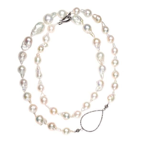 Baroque Pearl and Diamond Raindrop Necklace