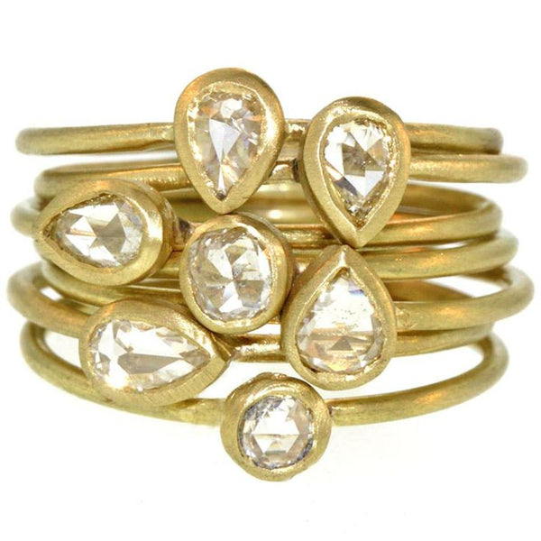 Hammered Gold and Diamond Rings - SOLD OUT!