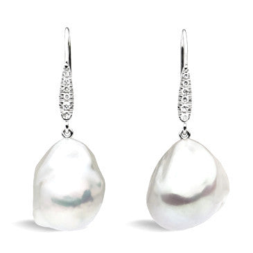Baroque Pearl and White Diamond Earrings