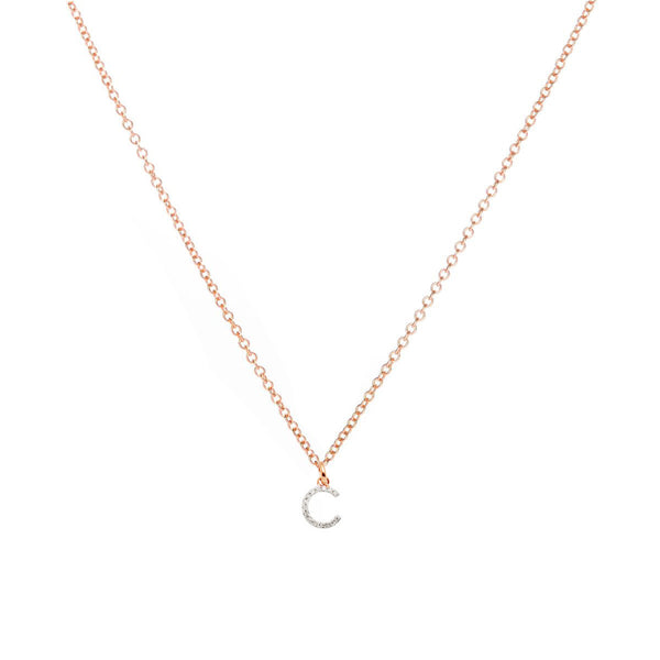 The Christina - Rose Gold Diamond Initial Necklace