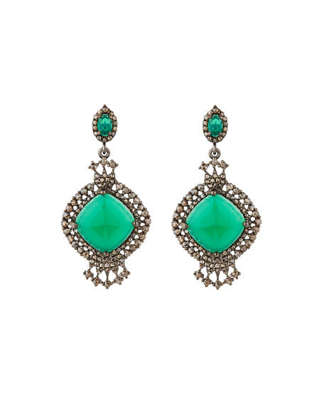 Green Onyx and Rose Cut Diamond Earrings - SOLD OUT!