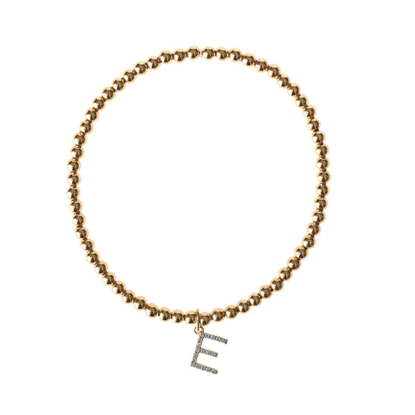 Diamond Initial Bracelet - Gold