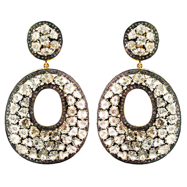 Rose Cut Diamond Circle Earrings
