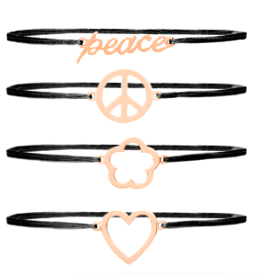 Gold Silk Peace, Love and Happiness Bracelets