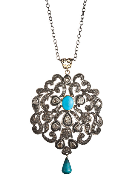 Rose Cut Diamond and Turquoise Pendant on Rhodium Plated Chain
