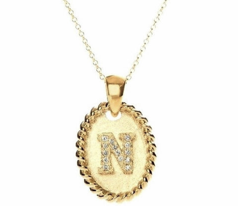 """Vintage"" Initial Necklace - Yellow Gold"
