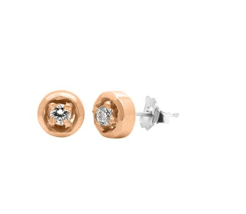 Halo Stud Earrings - Rose Gold
