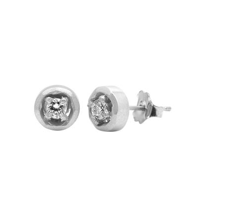 Halo Stud Earrings - White Gold