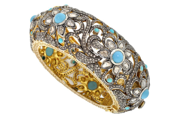 Turquoise and Rose Cut Diamond Cuff