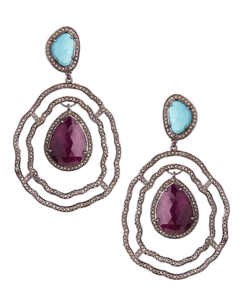 Ruby, Turquoise and Rose Cut Diamond Earrings