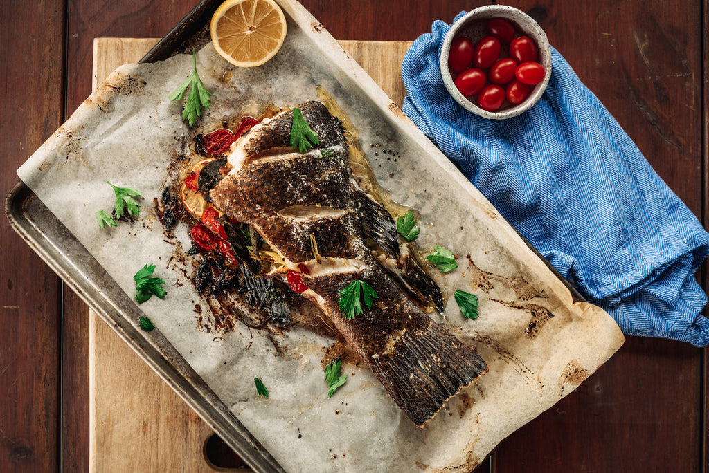 Whole baked Coral Trout