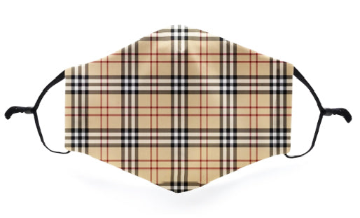 Brown Plaid Fashion Mask - Viso Designs