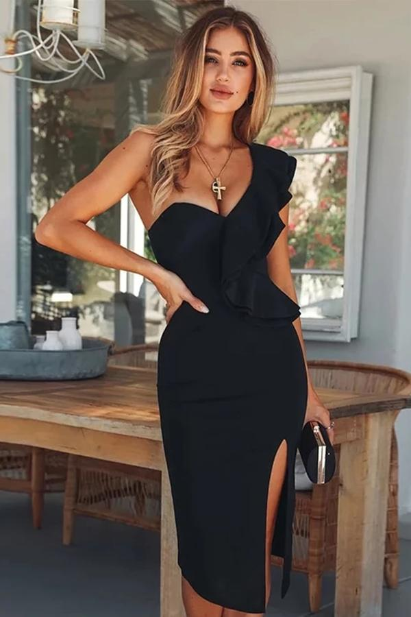Ruffles One Shoulder Bodycon Celebrity Party Dress - Caran Clothing