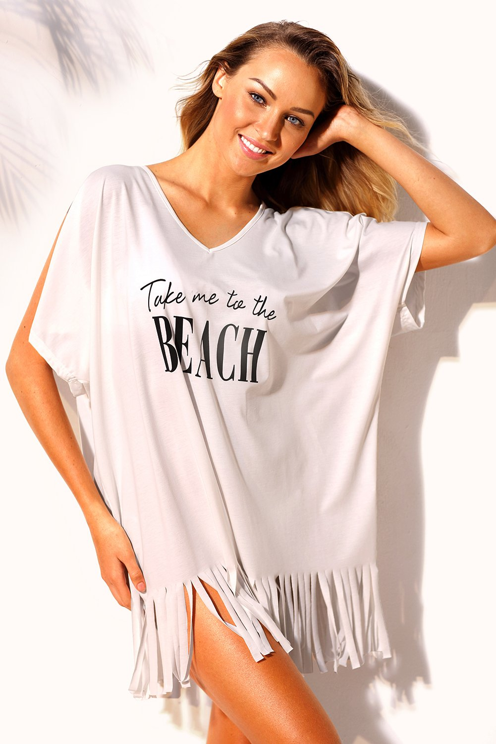 White Loose Fit Take Me to the Beach Cover up - Caran Clothing