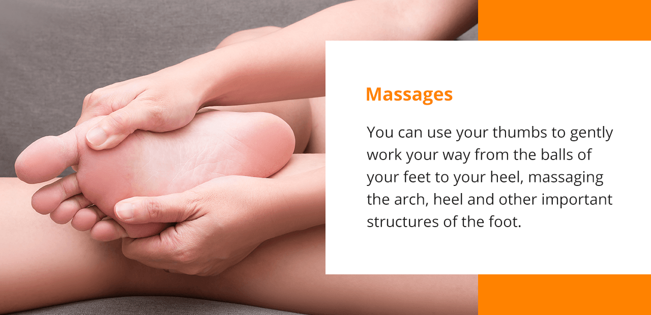 gently using your thumbs the massage the balls of your feet to ease pain caused by Plantar Fasciitis