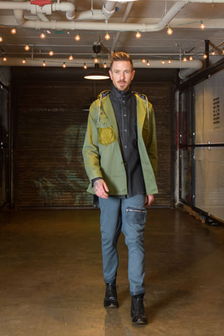 re-worked army coat, denim work shirt with high collar, 100% hemp trousers