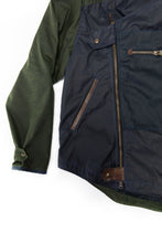 Load image into Gallery viewer, 2020 moto jacket- navy/green wax