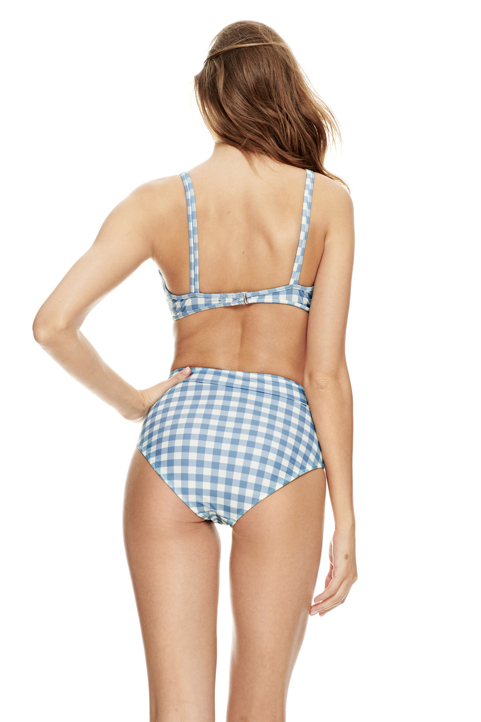 Martinique top-GINGHAM PALE BLUE