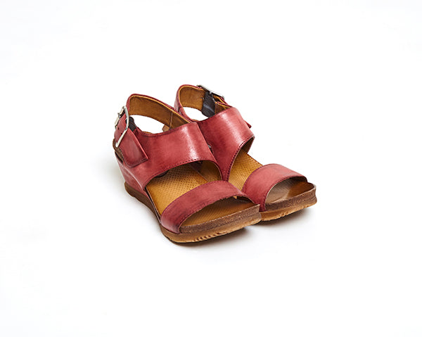 Mariel sandals side by side in Currant colour