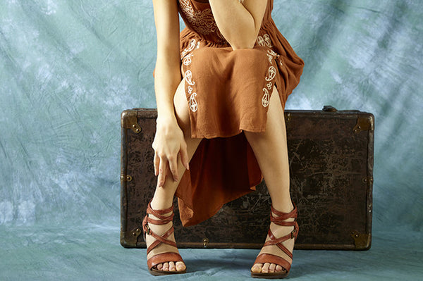 Girl wearing Shay sandal in Rust colour