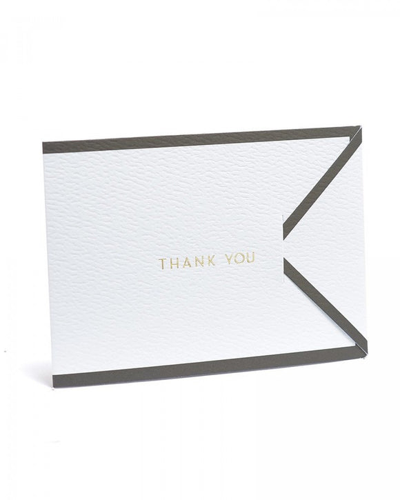 White with Black Border Tri-Fold Thank You Cards - 15ct