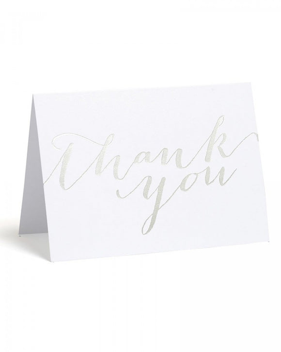 Value Pack Thank You Cards - 50 count - Silver Foil Script