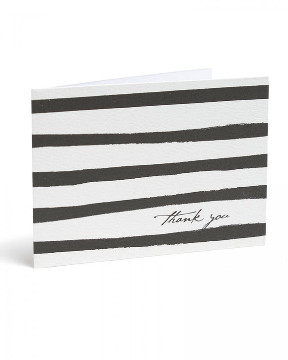 Black Painterly Stripe Thank You Cards - 15ct