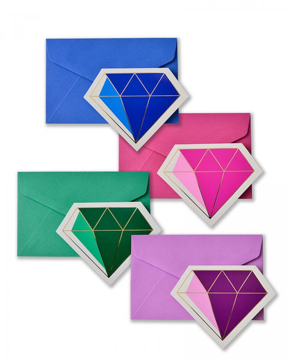 Gold Foil & Jewel Tone Diamond Note Card Set