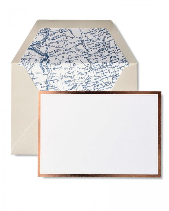 Vintage Map & Rose Gold Foil Note Cards - 12 count