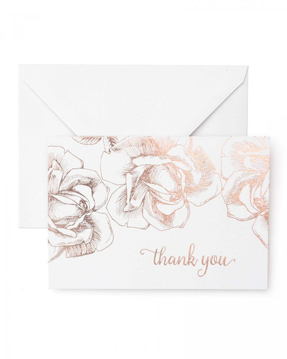 Value Pack Thank You Cards - 40 count - Rose Gold Foil Floral