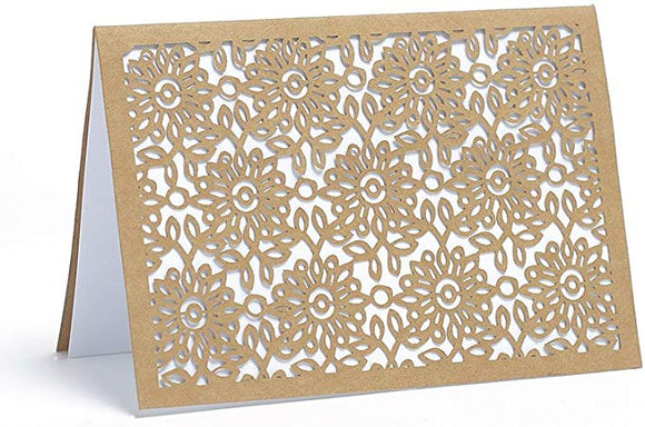 Laser Cut Floral Kraft Blank Note Cards - 10 count