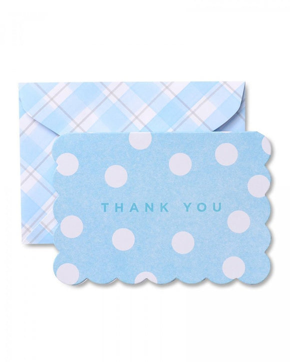 Value Pack Thank You Cards - 50 count - Blue Polka Dot on Plaid Thank You Cards